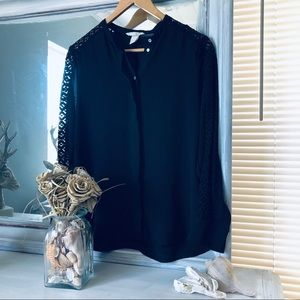 Black Button Up Blouse with Sleeve Detail